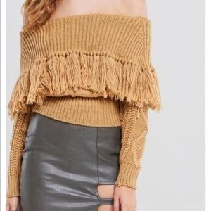 Fringe Off Shoulder Sweater Storets Sz Small NEW